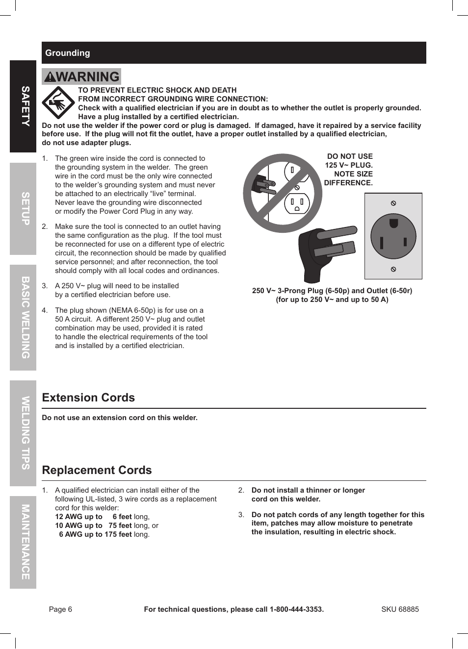 Extension cords, Replacement cords | Chicago Electric Wire Feed ...