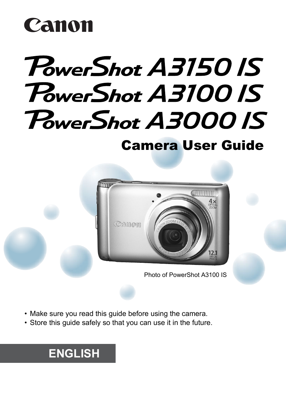 Canon powershot a3000 / a3100 / a3150 is instruction manual.