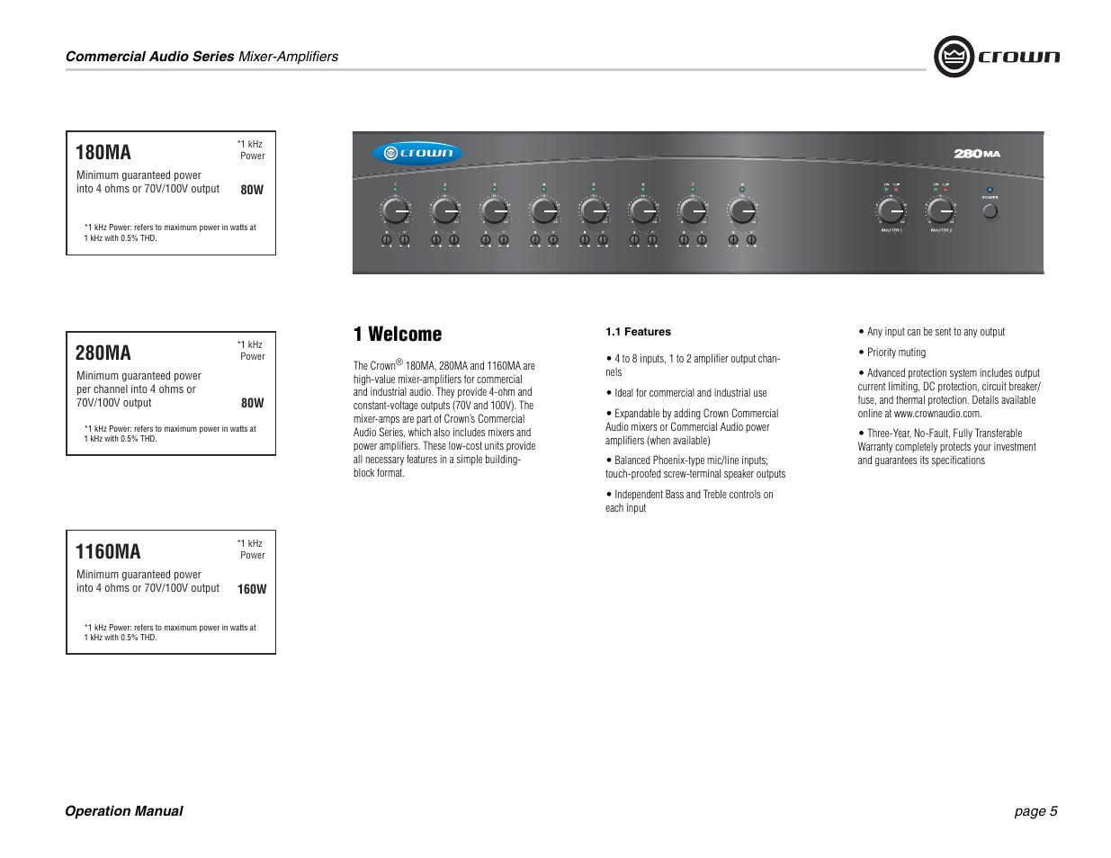 1 welcome 180ma 1160ma crown audio 180ma 280ma user manual rh manualsdir com Crown 280mA Manual Crown 280mA Manual