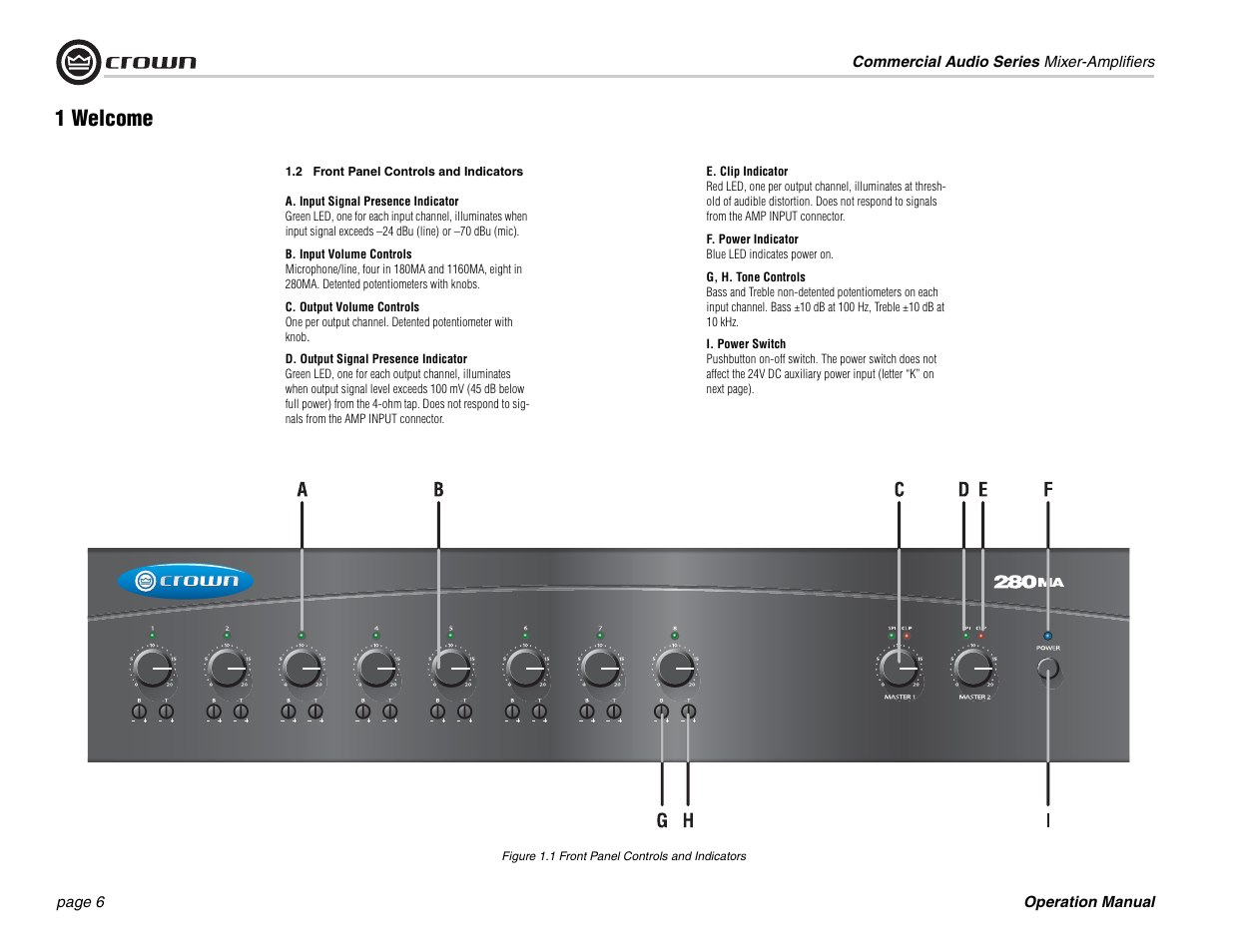 1 welcome crown audio 180ma 280ma user manual page 6 24 rh manualsdir com 70V Mixer Amplifier Commercial Audio Amplifier