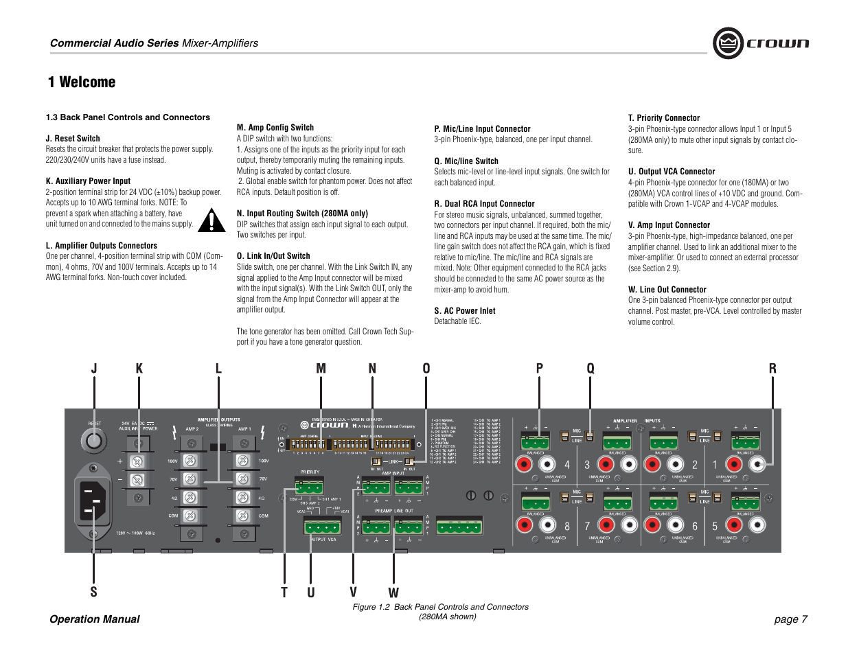 1 welcome crown audio 180ma 280ma user manual page 7 24 rh manualsdir com Crown Mixer Amplifier Crown Speakers