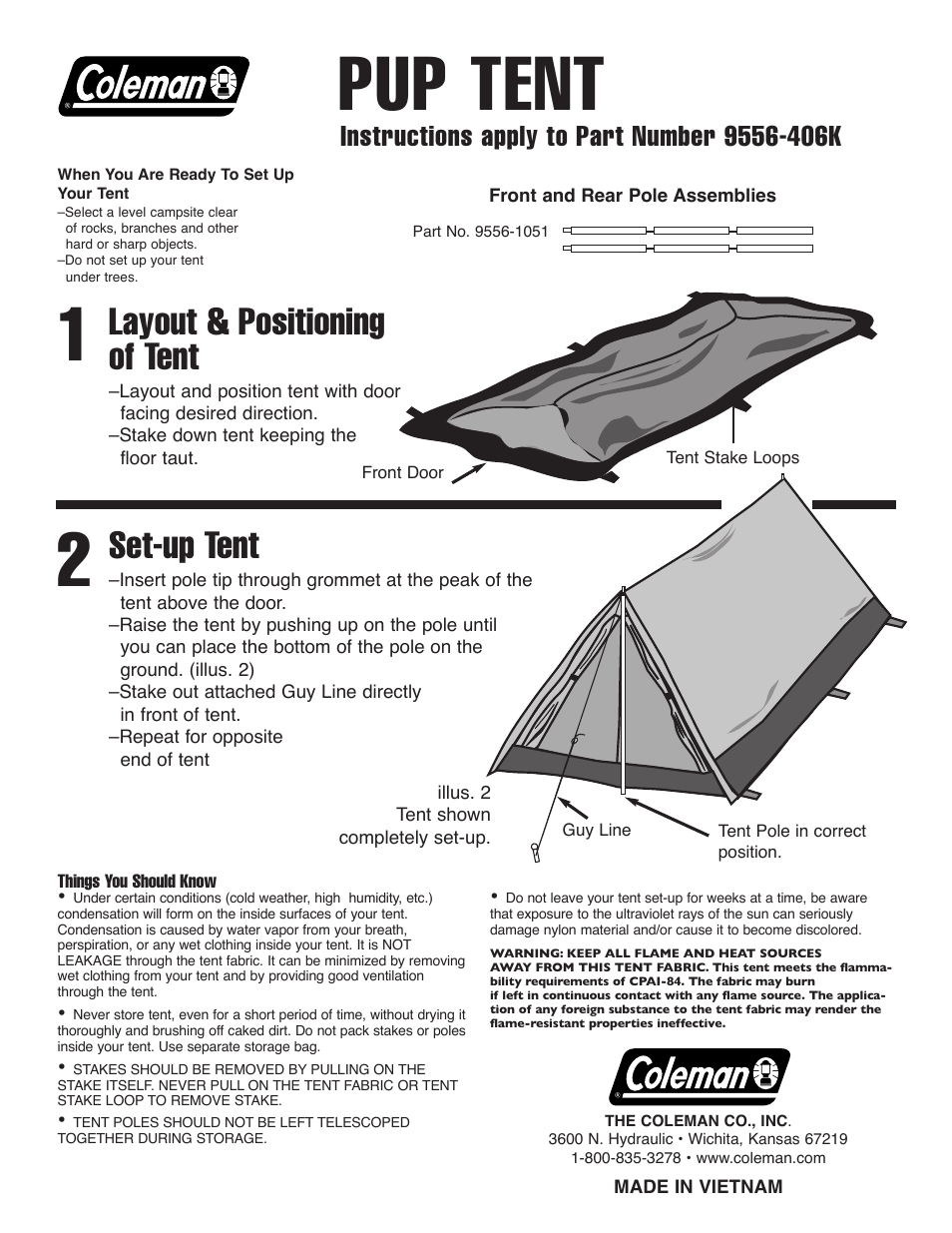 Coleman Pup Tent 9556 406k User Manual 1 Page