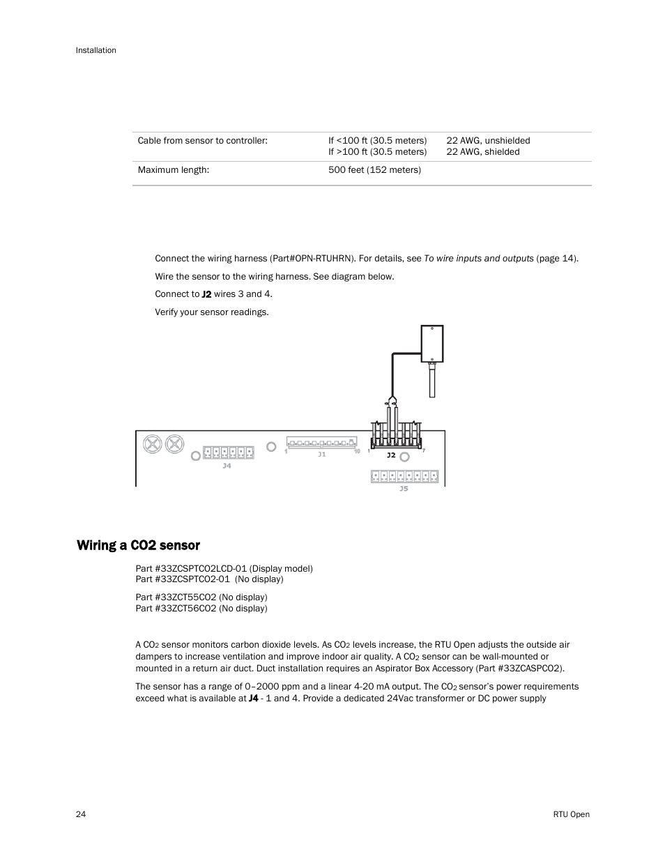 Wiring Specifications To Wire An Oat Sensor The Controller Shielded Harness A Co2 Carrier Rtu Open 11 808 427 01 User Manual Page 30 88