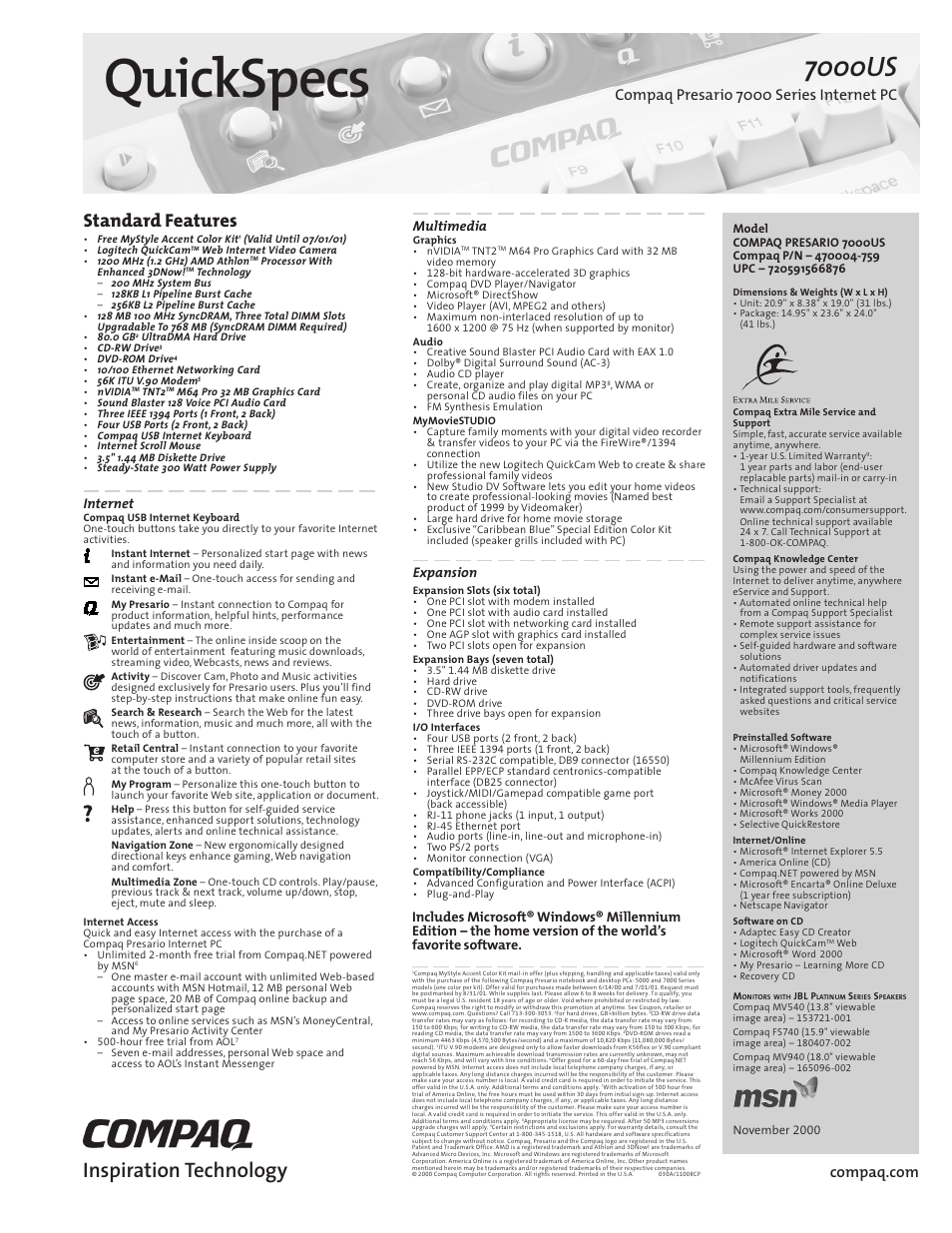 Compaq Presario 7000 Series Internet PCQuick 470004-759 User Manual | 1 page