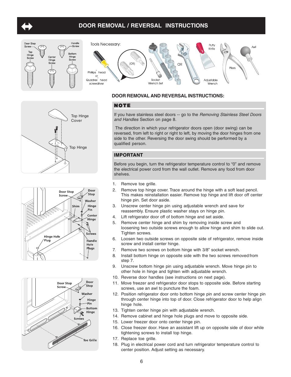 Crosley Refrigerator Diagram Car Fuse Box Wiring Door Removal Reversal Instructions Top Rh Manualsdir Com Shelvador 1948