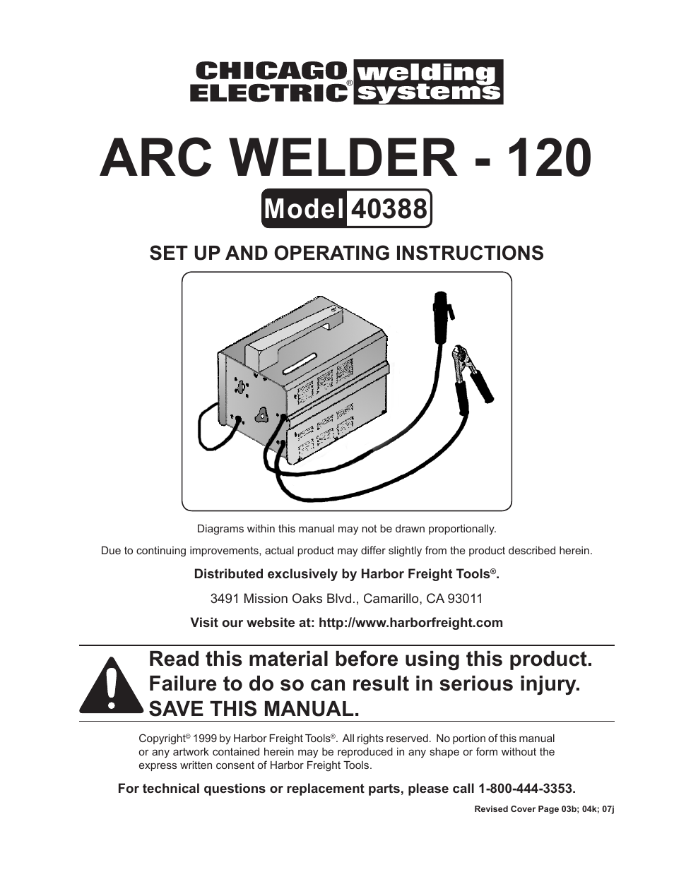 Chicago Electric 40388 User Manual