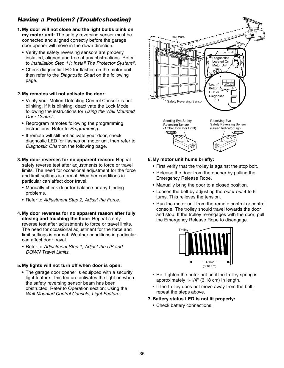 Having A Problem Troubleshooting Chamberlain 248754 User Manual Garage Door Opener Safety Reversing Sensor Wiring Diagram Page 35 44