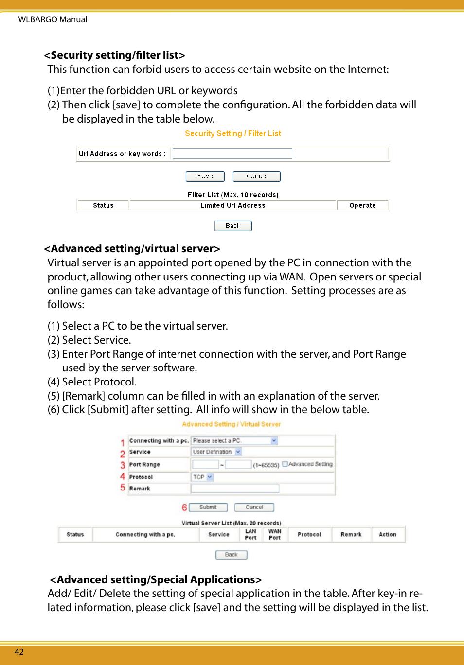 security setting lter list advanced setting virtual server rh manualsdir com