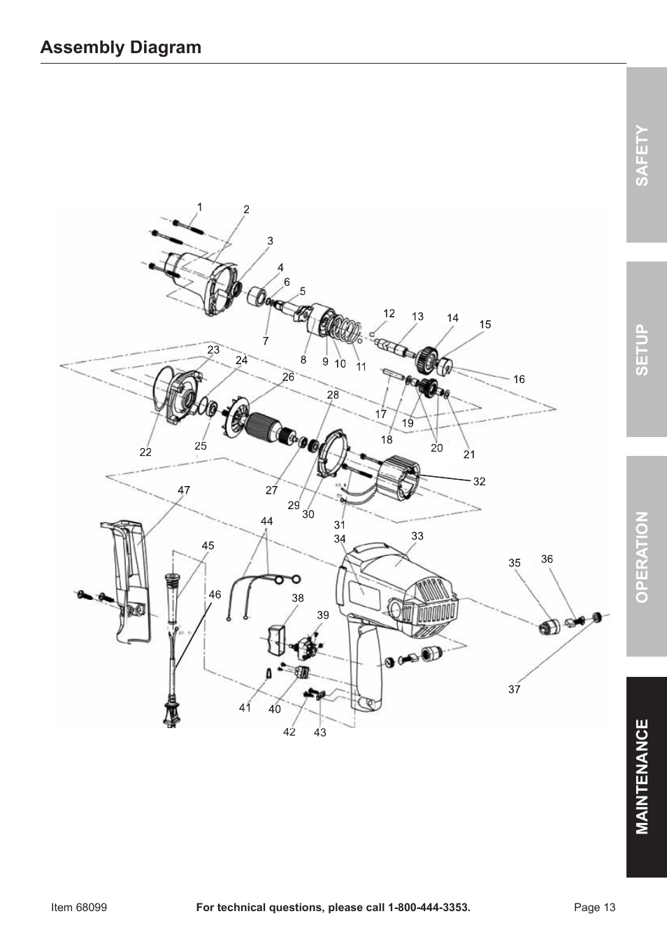 embly diagram   Chicago Electric Electric Impact Wrench ... on