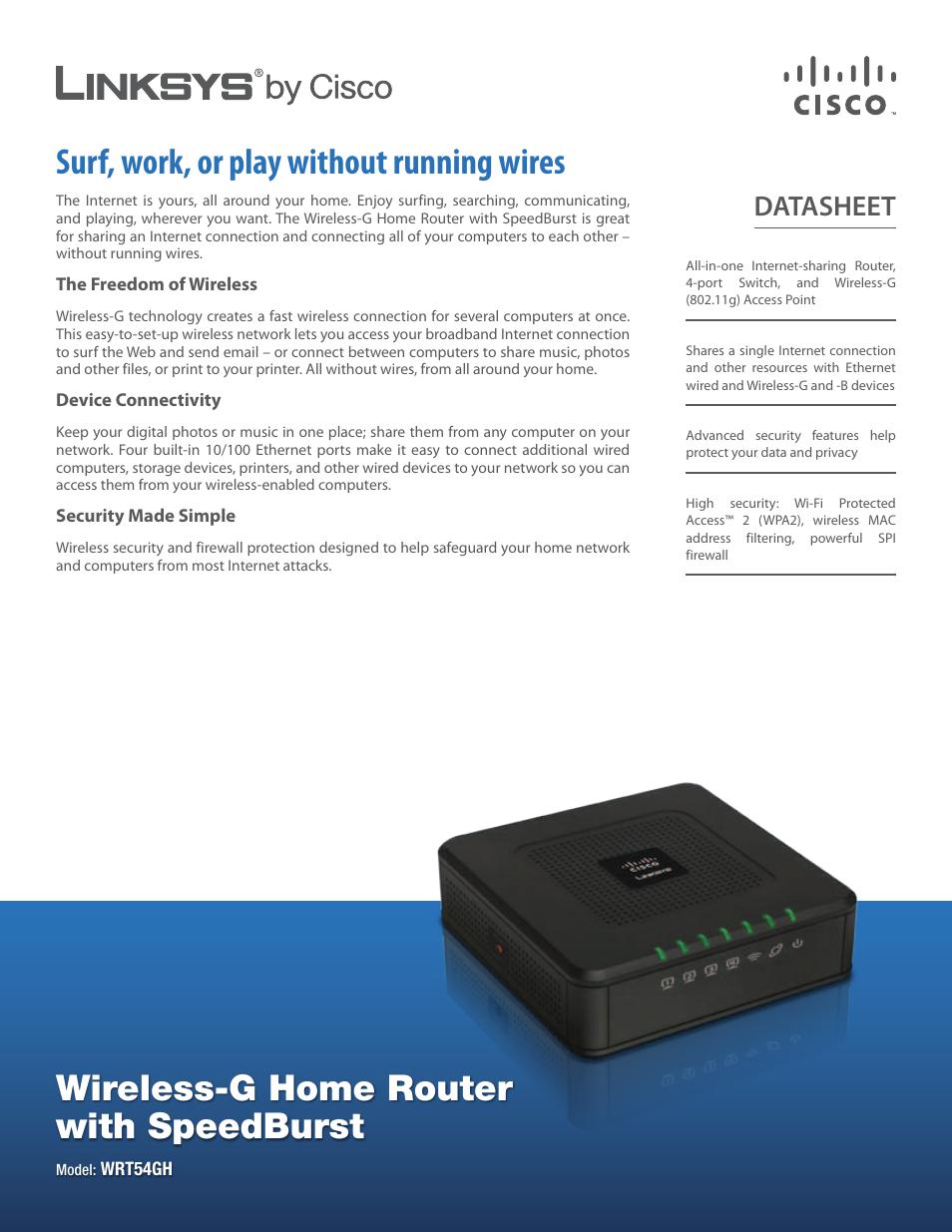 Cisco Wireless-G Home Router with SpeedBurst WRT54GH User Manual | 2 ...
