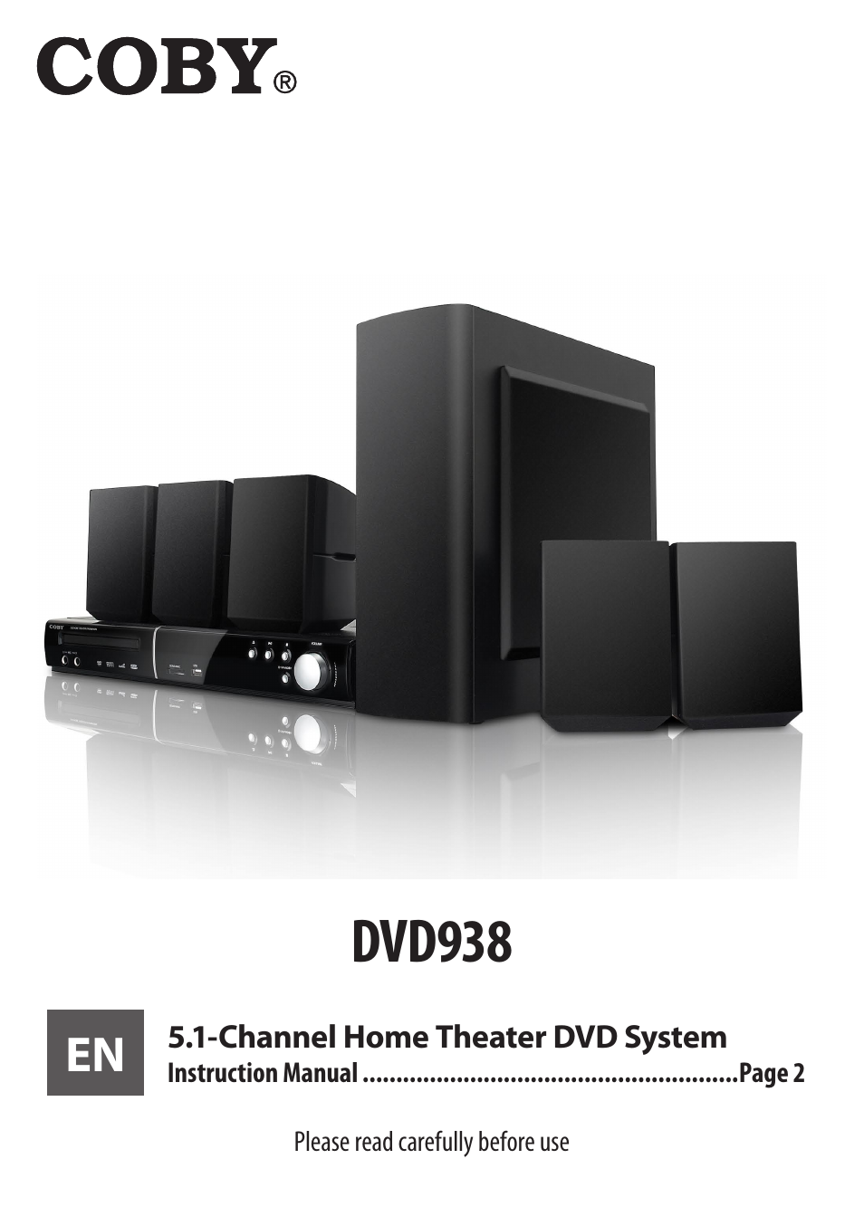 COBY electronic 5.1 Channel Home Theater DVD System DVD938 User Manual   60  pages
