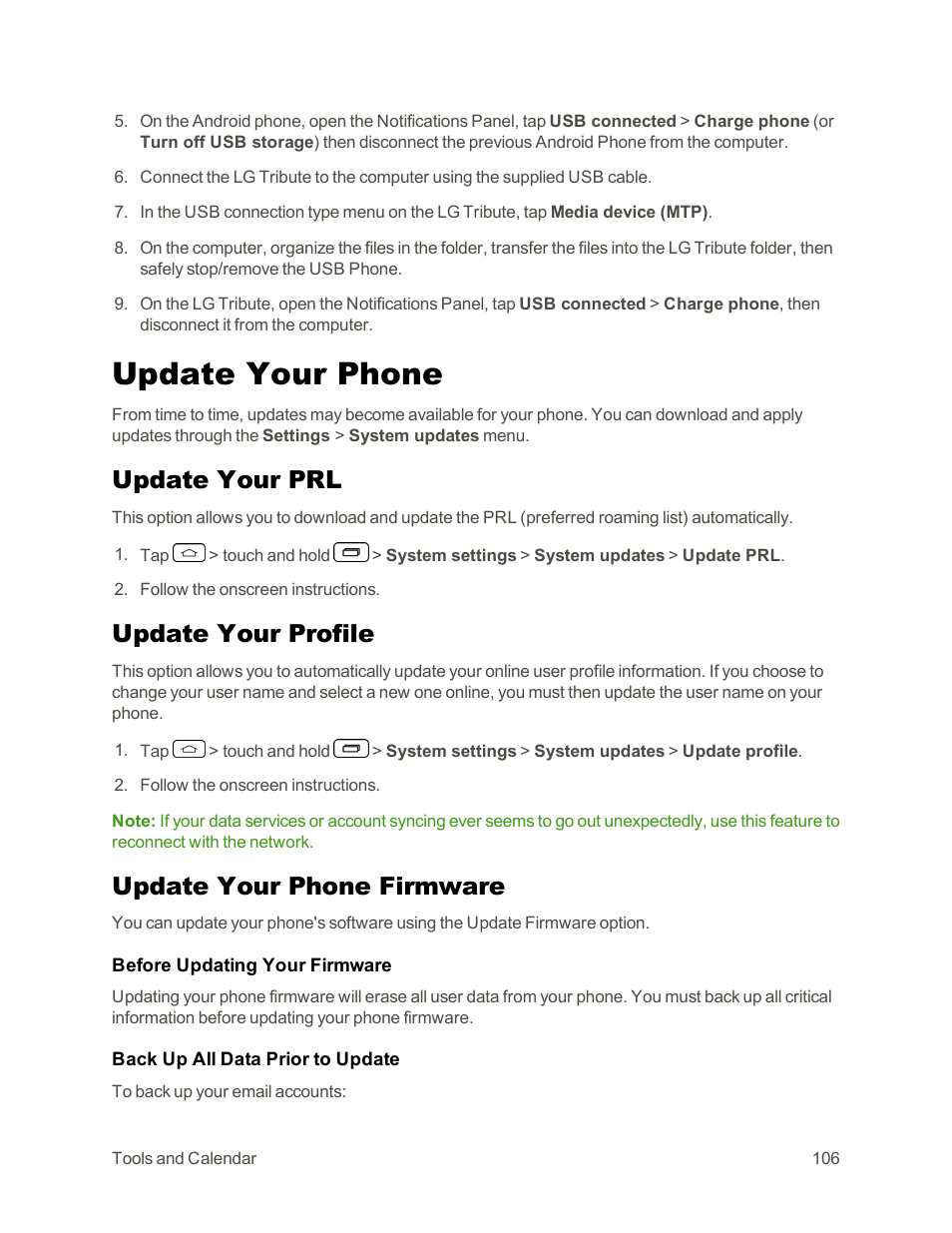 Update your phone, Update your prl, Update your profile | LG