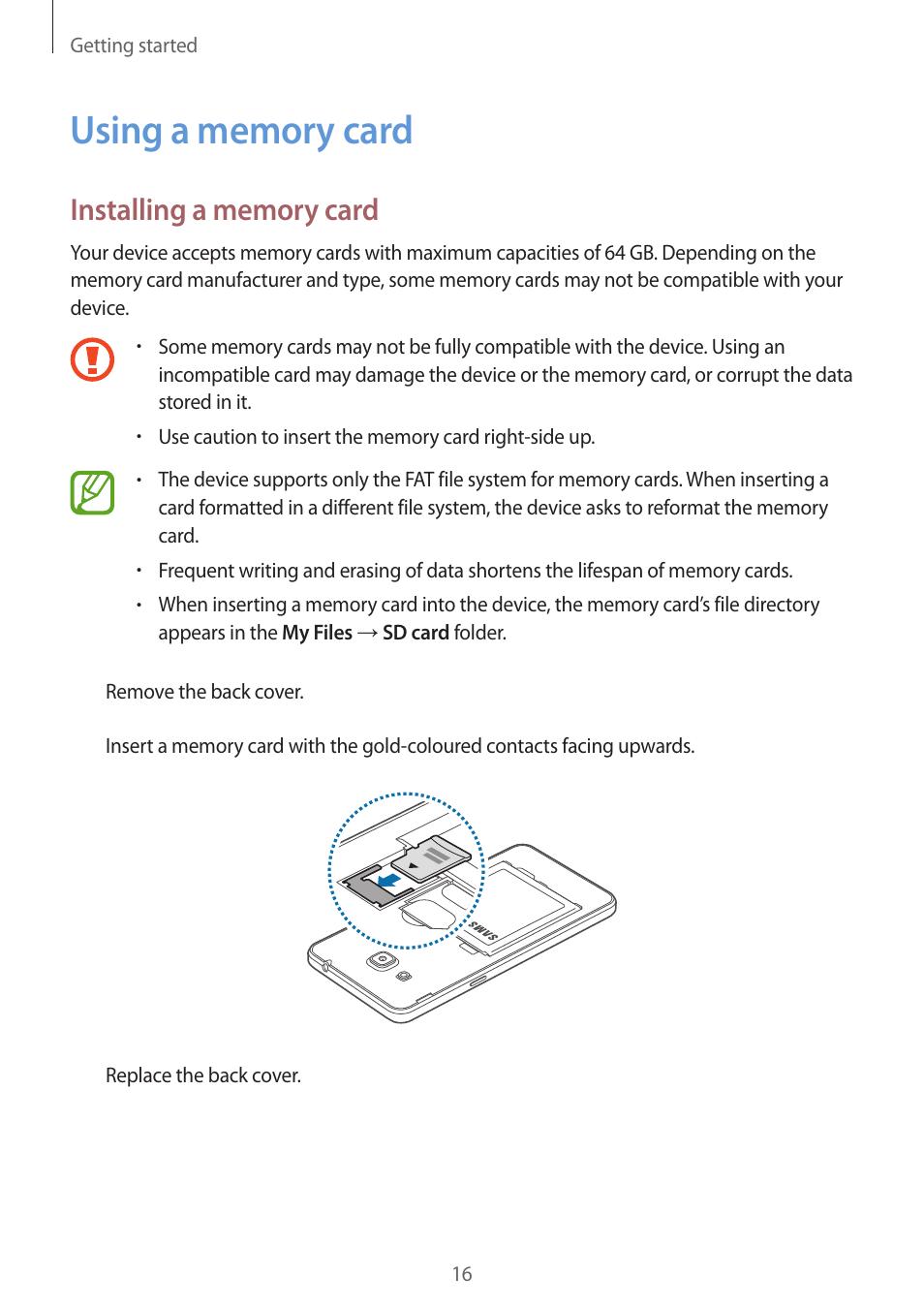 using a memory card 16 using a memory card samsung galaxy grand rh manualsdir com Samsung Manual PDF Samsung Galaxy S Manual