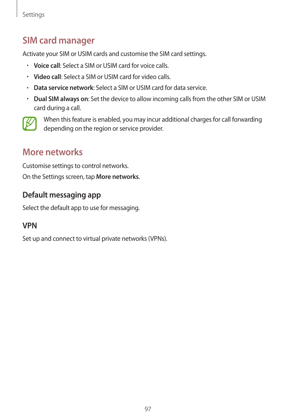 Sim card manager, More networks   Samsung Galaxy Grand Prime User