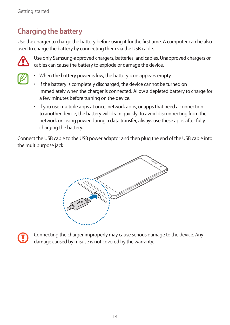 charging the battery samsung galaxy grand prime user manual page rh manualsdir com Samsung Refrigerator RF4287HARS Manual AT&T Samsung Owner's Manual