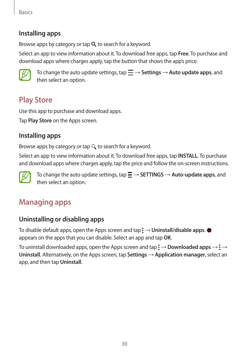 Play store, Managing apps, Installing apps | Uninstalling or disabling apps  | Samsung Galaxy