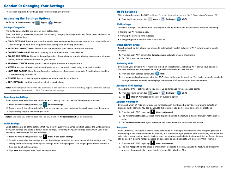 Section 9: changing your settings, Accessing the settings options