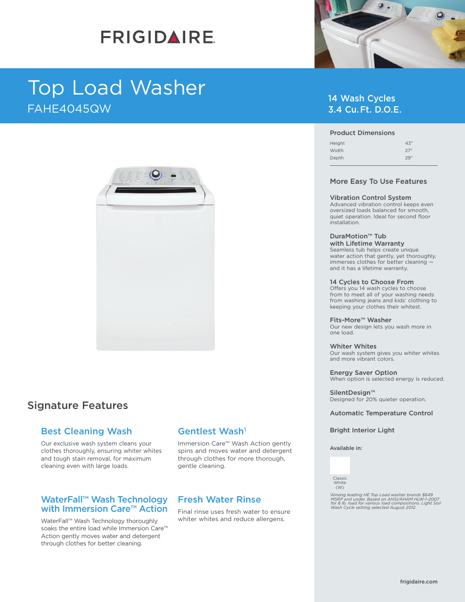 Frigidaire Affinity Washer Fahe4045qw User Manual 2 Pages