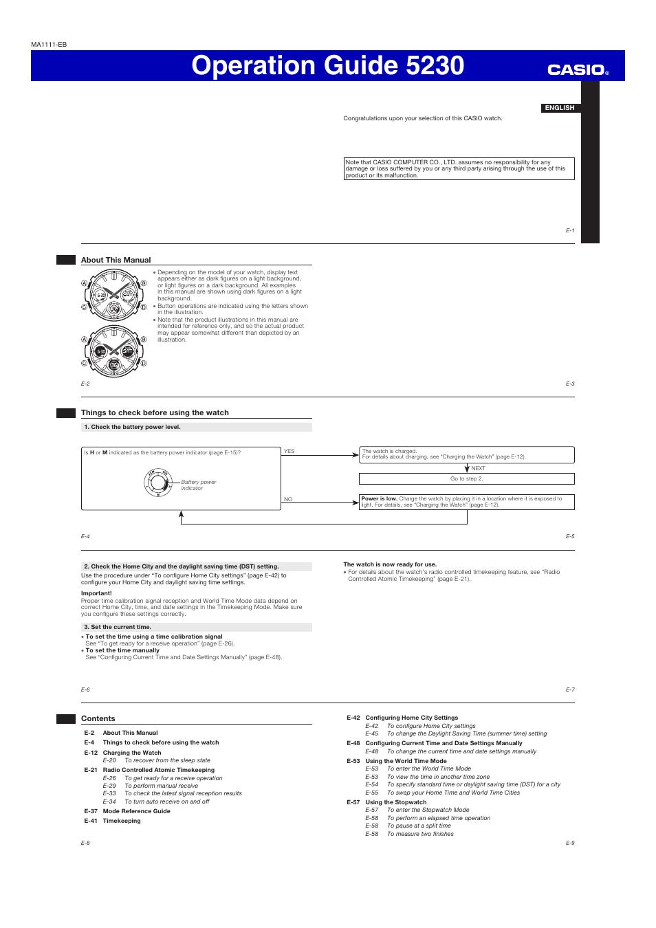 Casio G Shock Instructions Manual -
