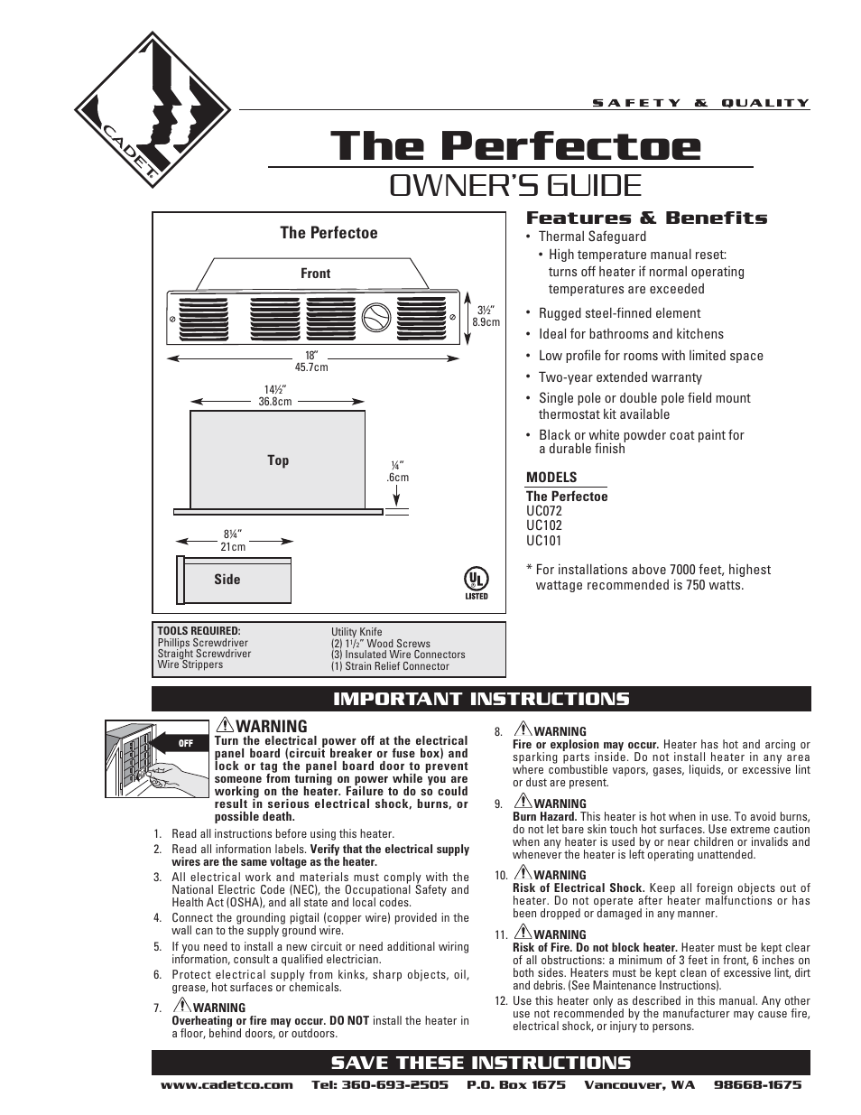 Cadet THE PERFECTOE UC102 User Manual | 8 pages | Also for: THE PERFECTOE  UC101, THE PERFECTOE UC072