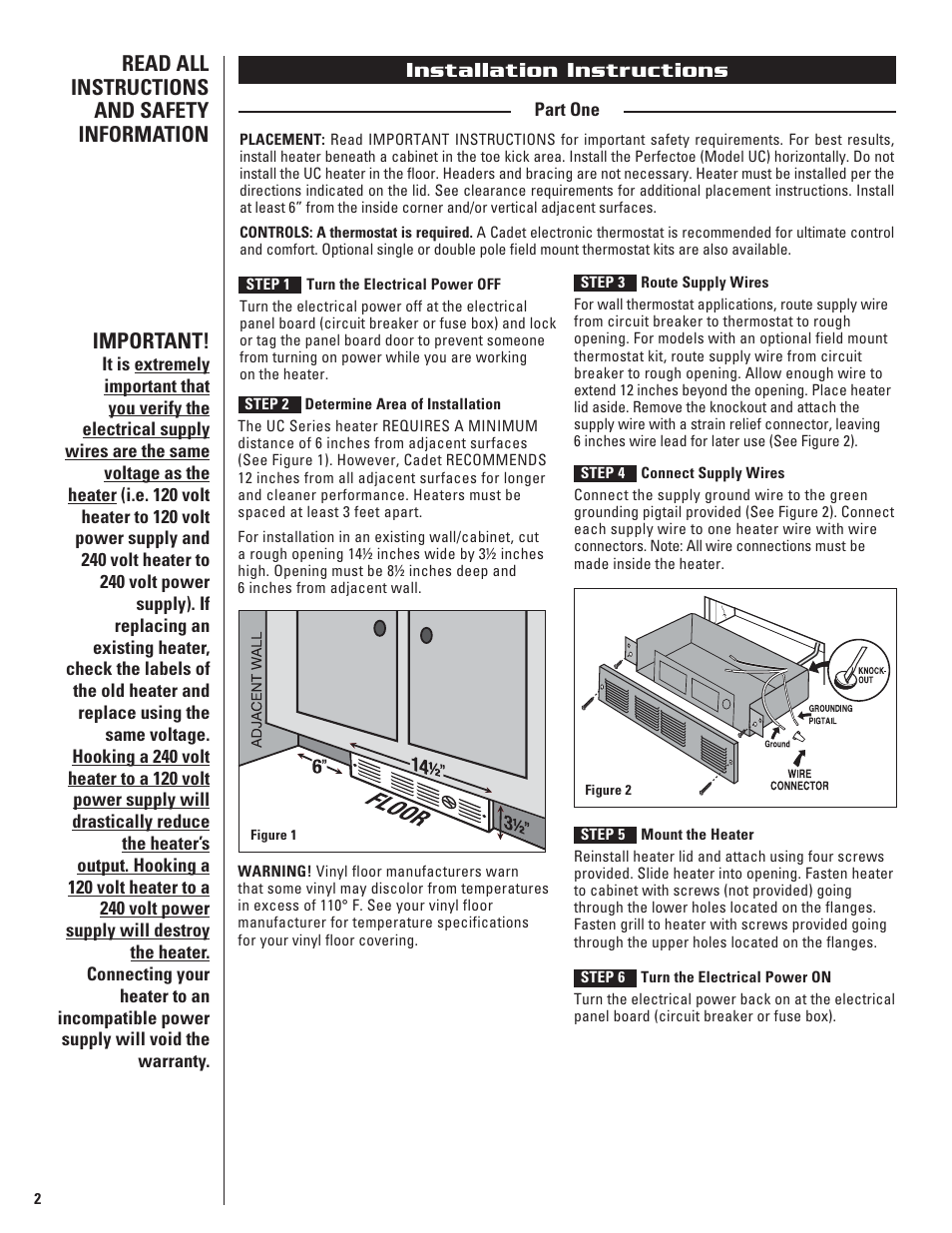 Installation instructions | Cadet THE PERFECTOE UC102 User Manual | Page 2  / 8