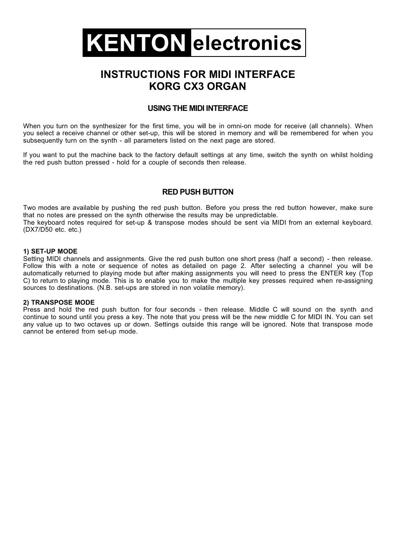 Kenton CX-3 User Manual | 4 pages