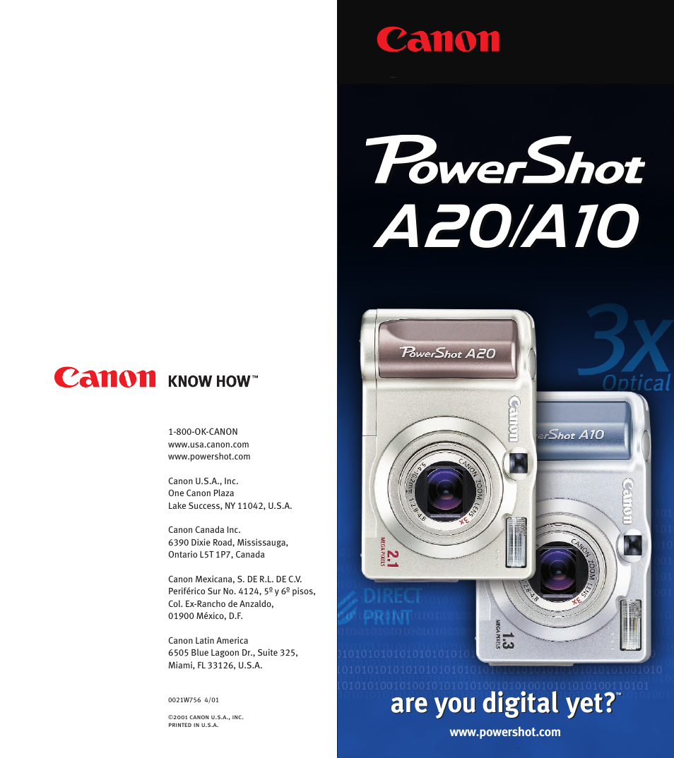 canon powershot a10 user manual 6 pages also for powershot a20 rh manualsdir com Canon PowerShot Manual PDF DSLR Canon PowerShot Manual