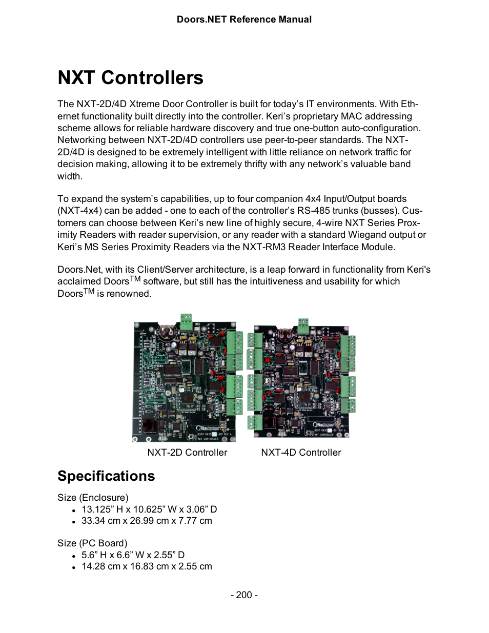 Nxt controllers Specifications | Keri Systems Doors.NET Manual User Manual | Page 200 / 602  sc 1 st  manualsdir.com : keri doors - pezcame.com