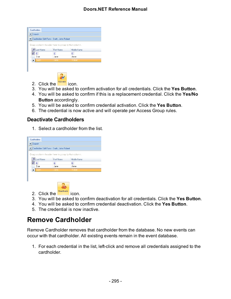 Deactivate cardholders Remove cardholder | Keri Systems Doors.NET Manual User Manual | Page 295
