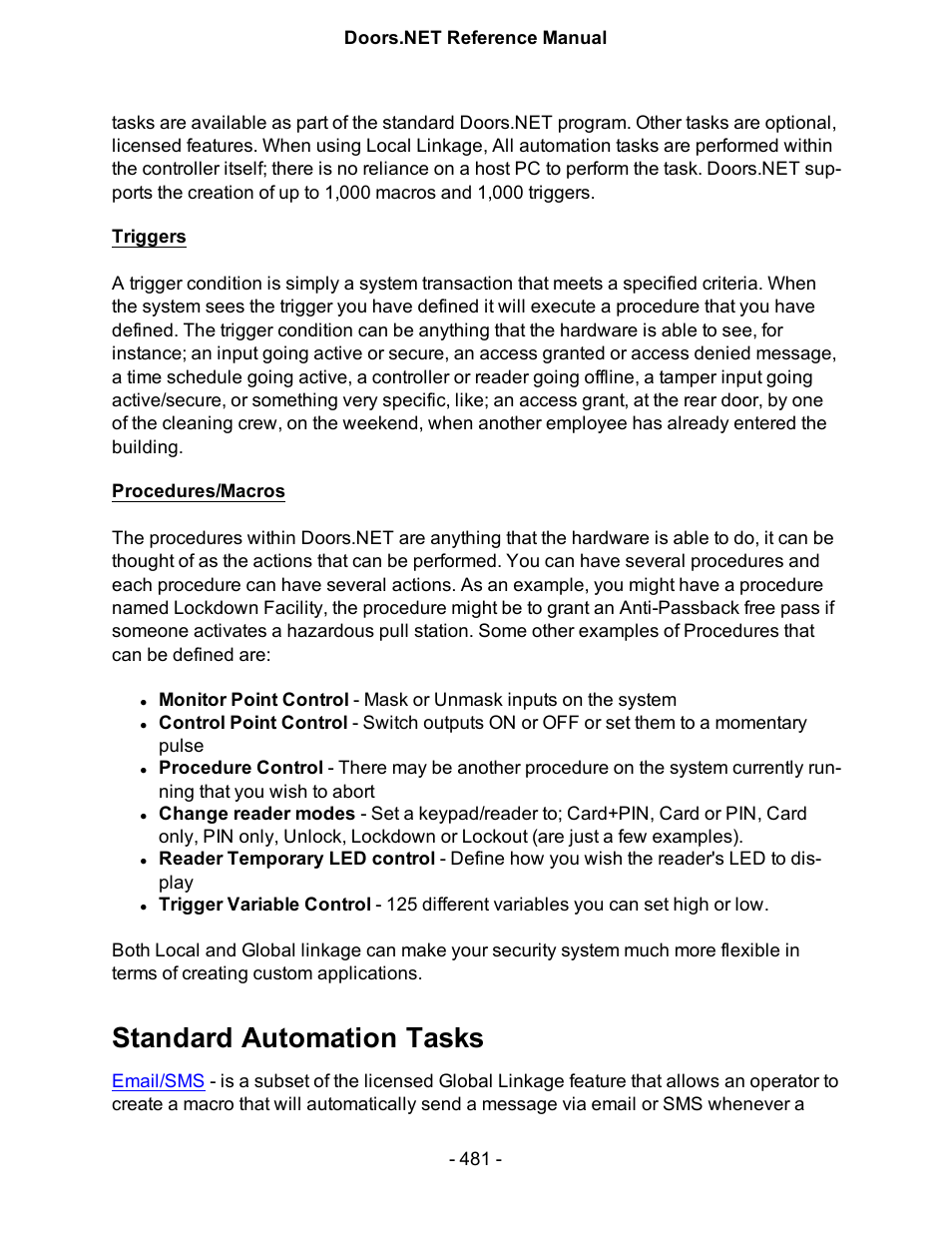 Standard automation tasks | Keri Systems Doors.NET Manual User Manual | Page 481 / 602