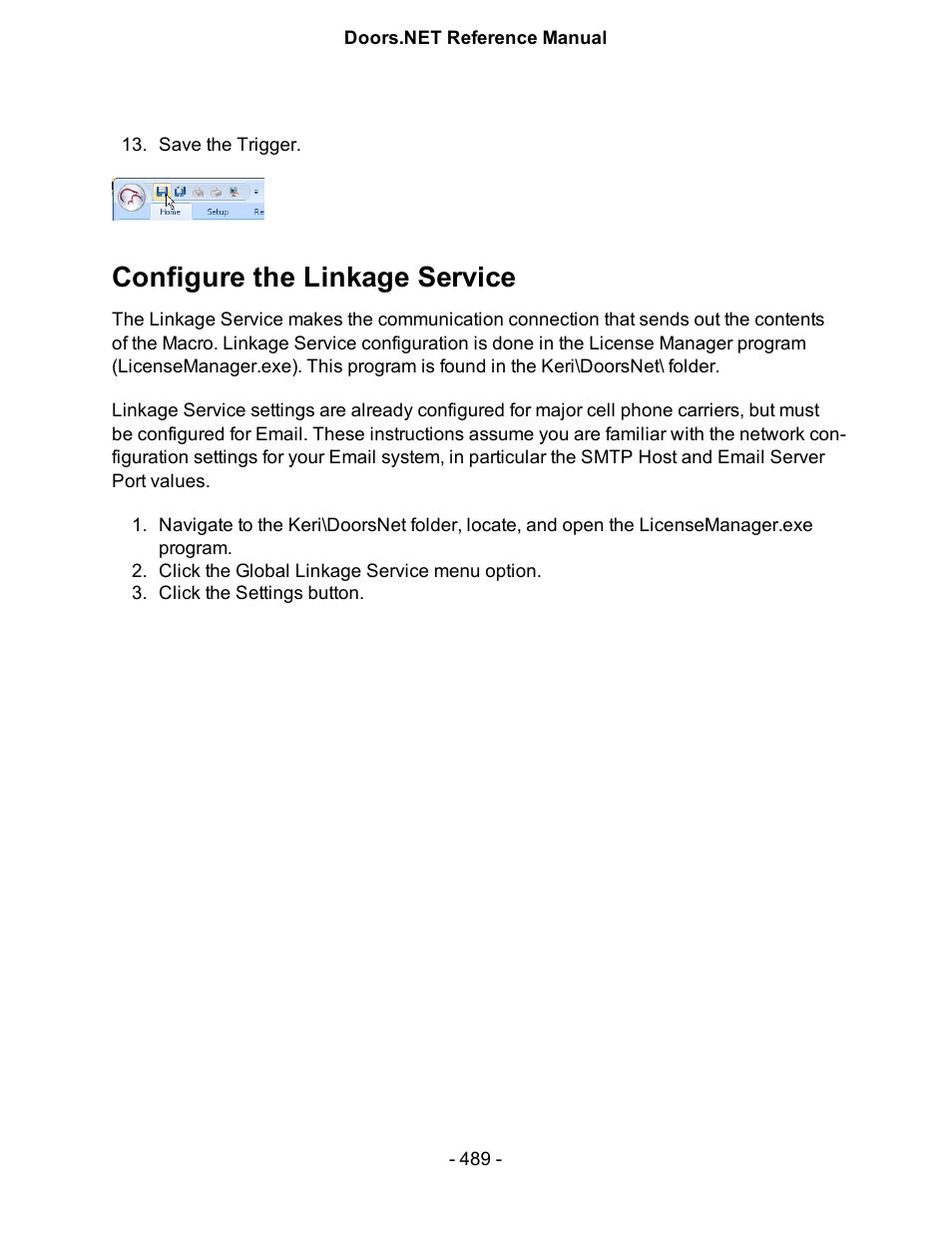 Configure the linkage service Configur | Keri Systems Doors.NET Manual User Manual | Page 489 / 602