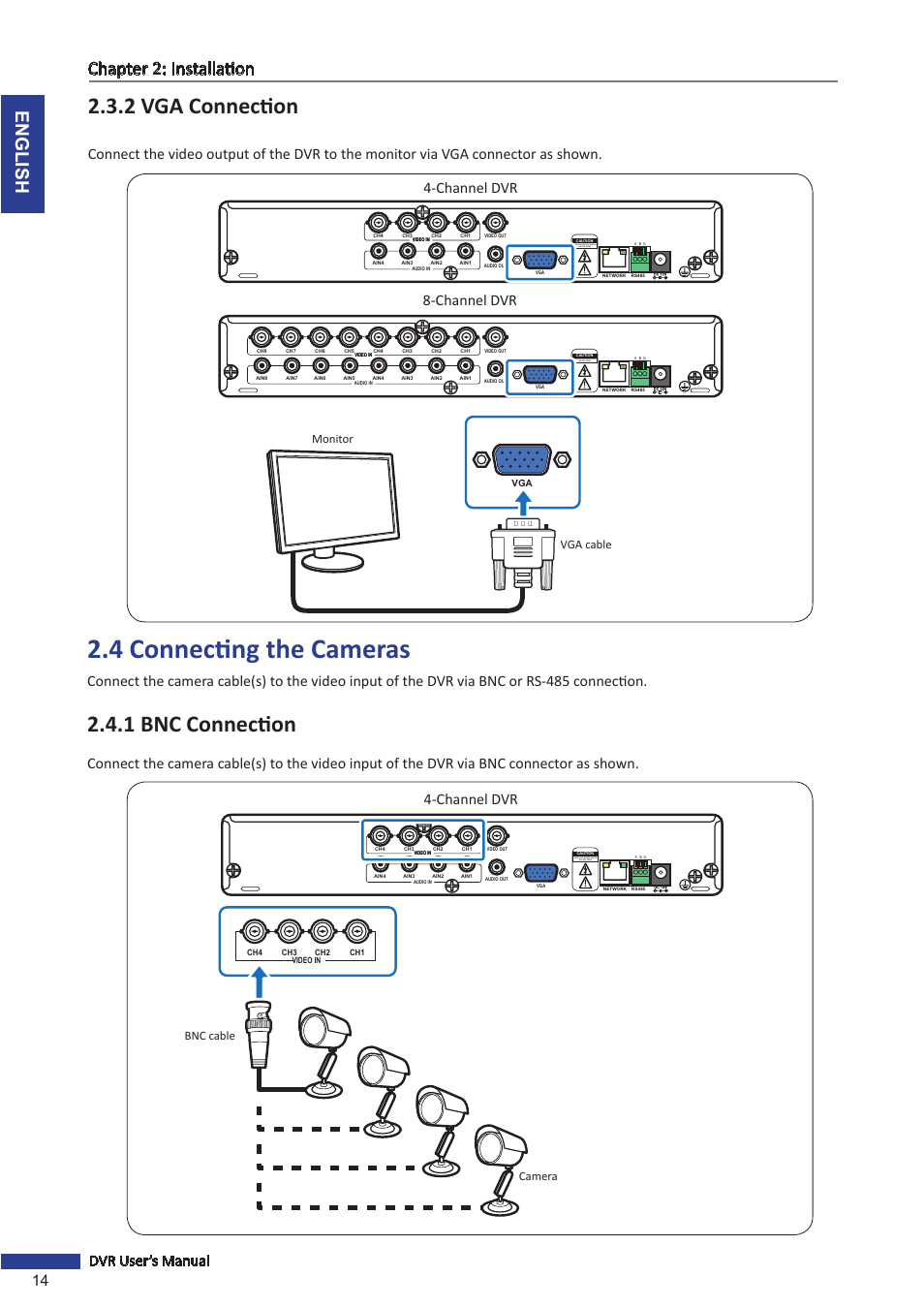 2 Vga Connection 4 Connecting The Cameras 1 Bnc Cable Connector Wiring Diagram English Chapter