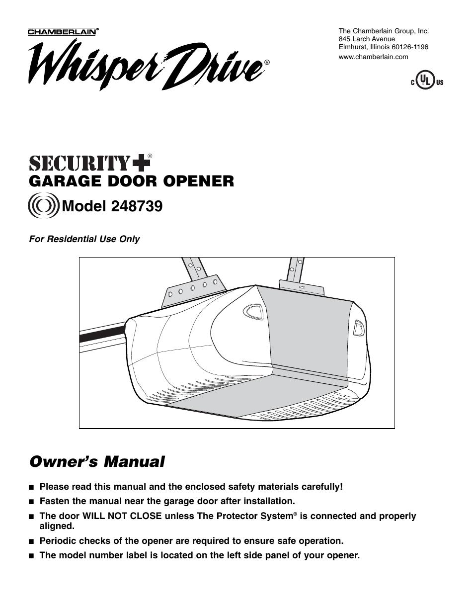 Chamberlain Whisper Drive Garage Door Opener Wiring Diagram Formula For Sensors 248739 User Manual 40 Pages Sensor