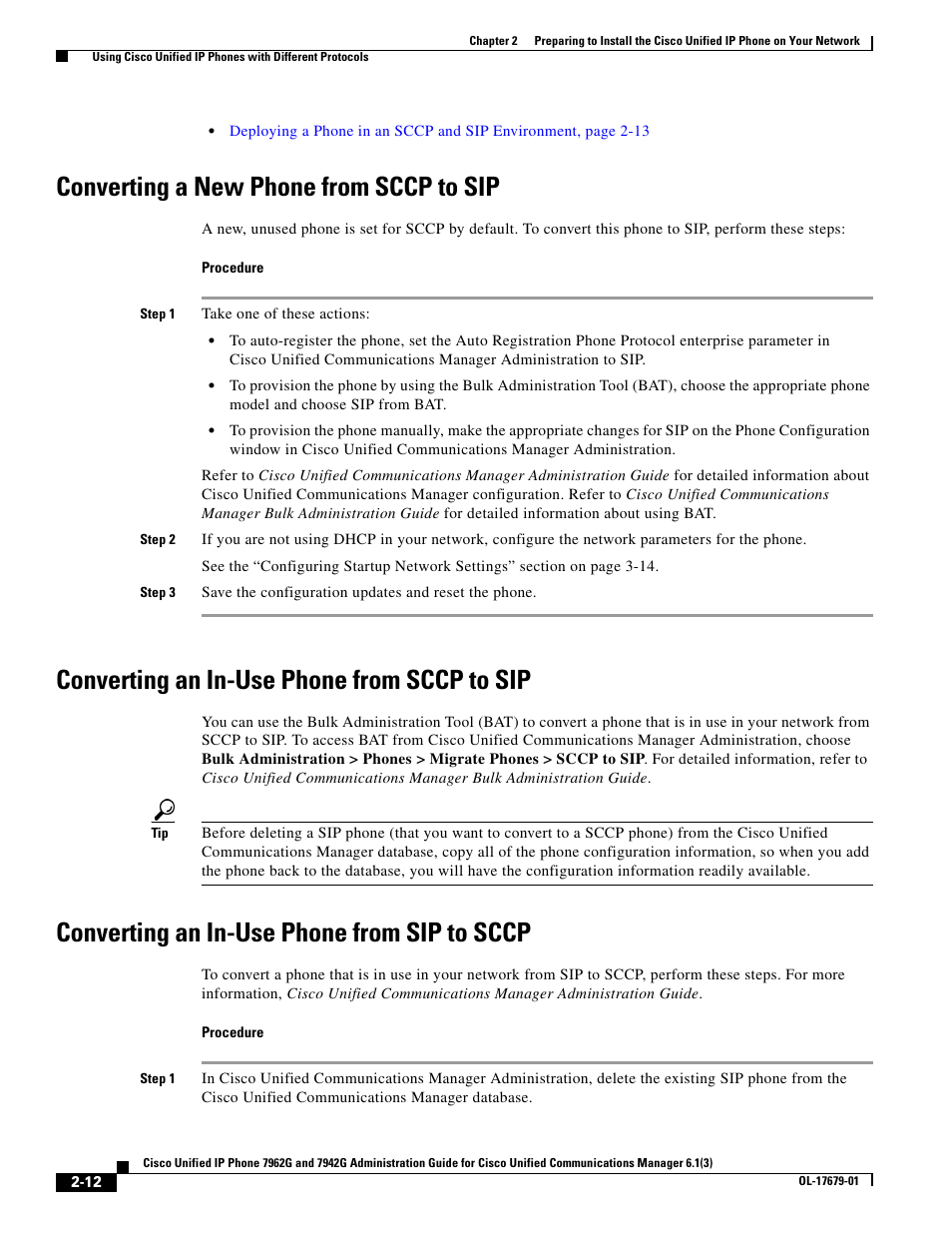 Converting a new phone from sccp to sip, Converting an in-use phone