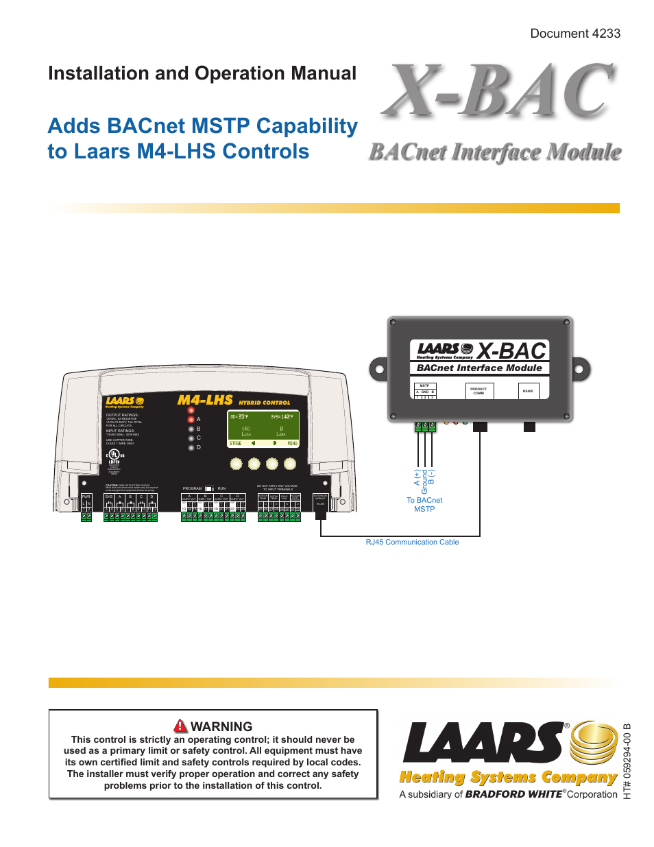 Laars X Bac Bacnet Interface Module Install And Operating Manual Votage Wiring User 8 Pages