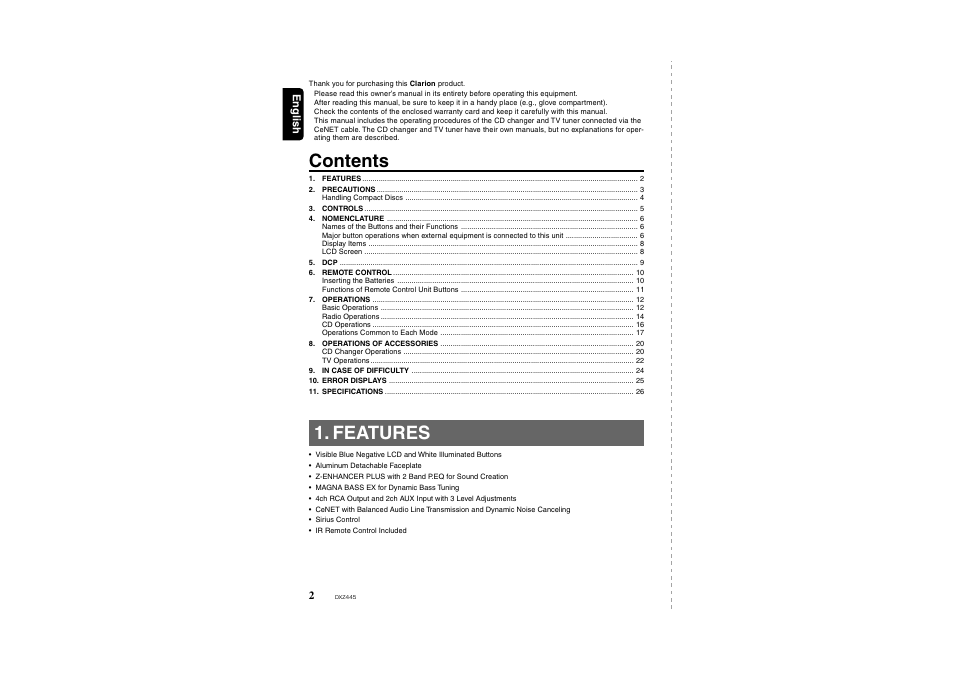 clarion dxz445 user manual page 2 36 original mode rh manualsdir com Clarion Car Audio Parts Clarion Car Stereo Wiring Diagram