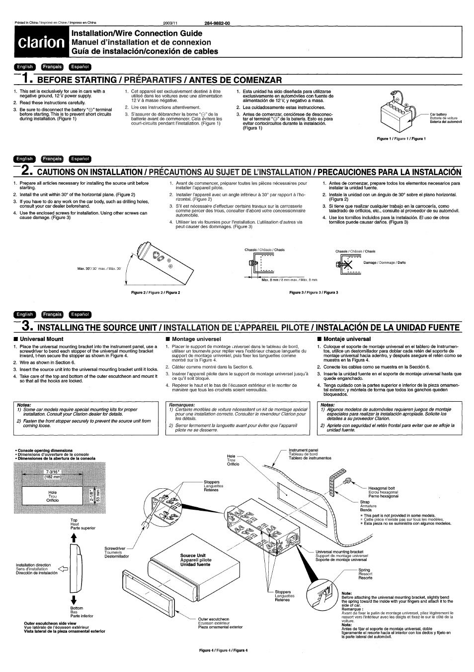 installation guide mounting angle din mounting clarion dxz445 rh manualsdir com