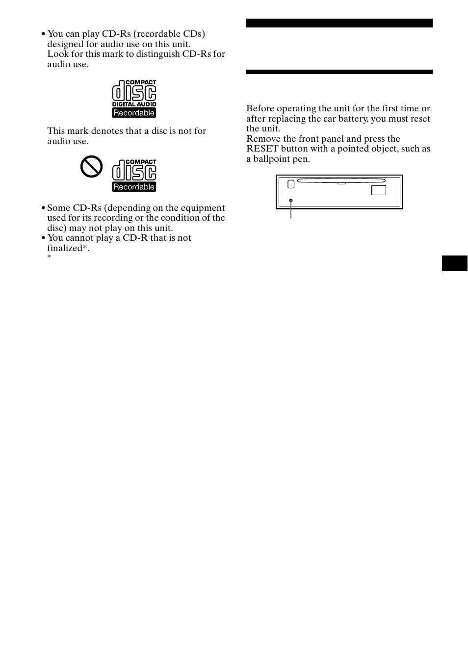 getting started, resetting the unit sony cdx ca650x user manual Sony Cdx Ca650x Installation getting started, resetting the unit sony cdx ca650x user manual page 7