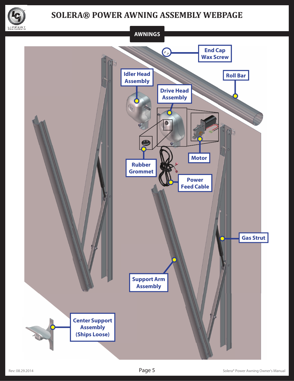 Solera 174 Power Awning Assembly Webpage Lippert Components
