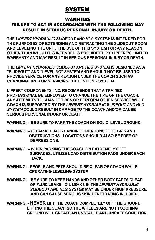 Lippert hydraulic landing gear manuals.