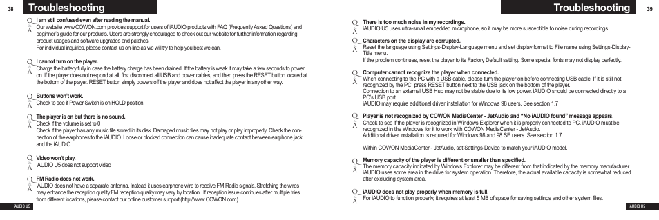 Troubleshooting | Cowon Systems U5 User Manual | Page 20 / 21
