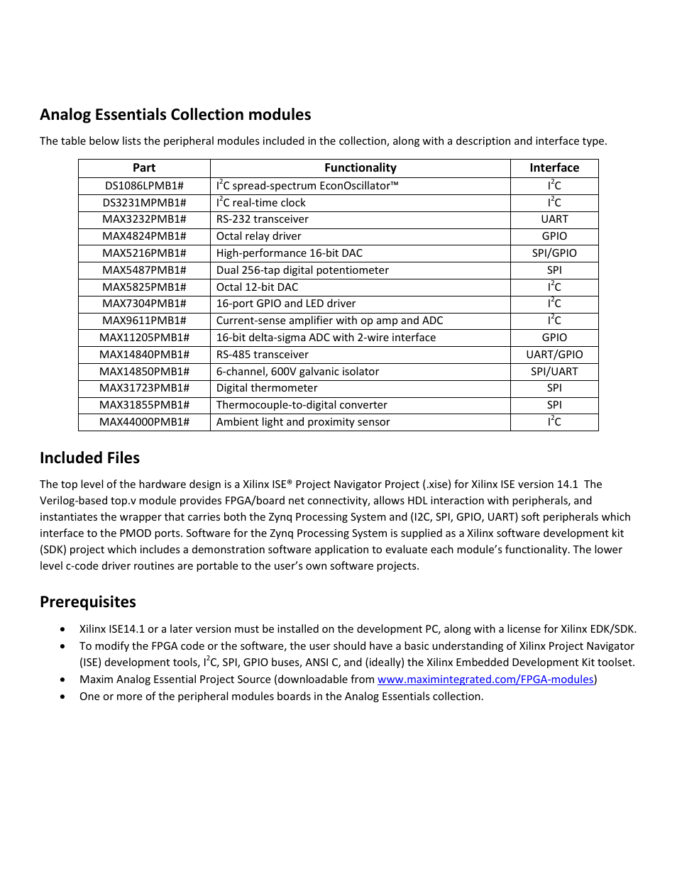 Analog Essentials Collection Modules Included Files Prerequisites Thermocouple To Digital Converter Maxim Integrated Getting Started Guide For Zedboard User Manual