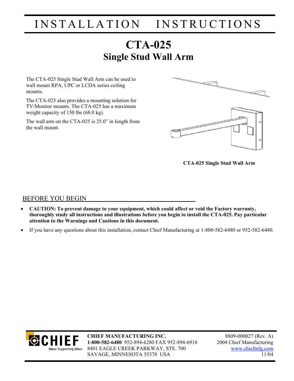 chief manufacturing single stud wall arm cta 025 user manual 6 pages rh manualsdir com Manufacturing by Hand Manufacturing Manual Labor