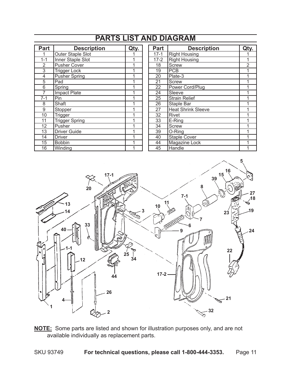 parts list and diagram