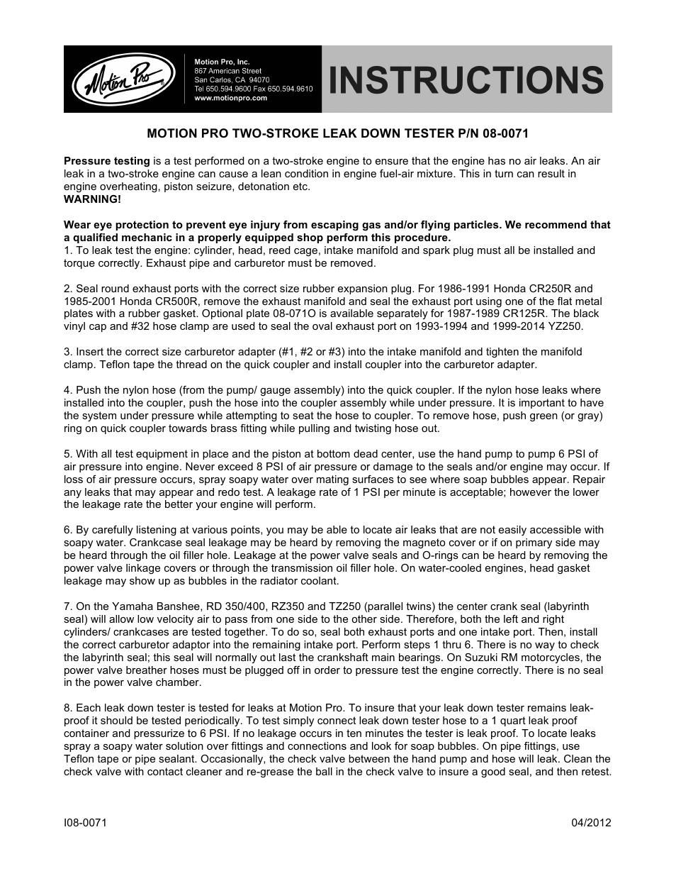 Motion Pro 08-0071 2-Stroke Leak Down Tester