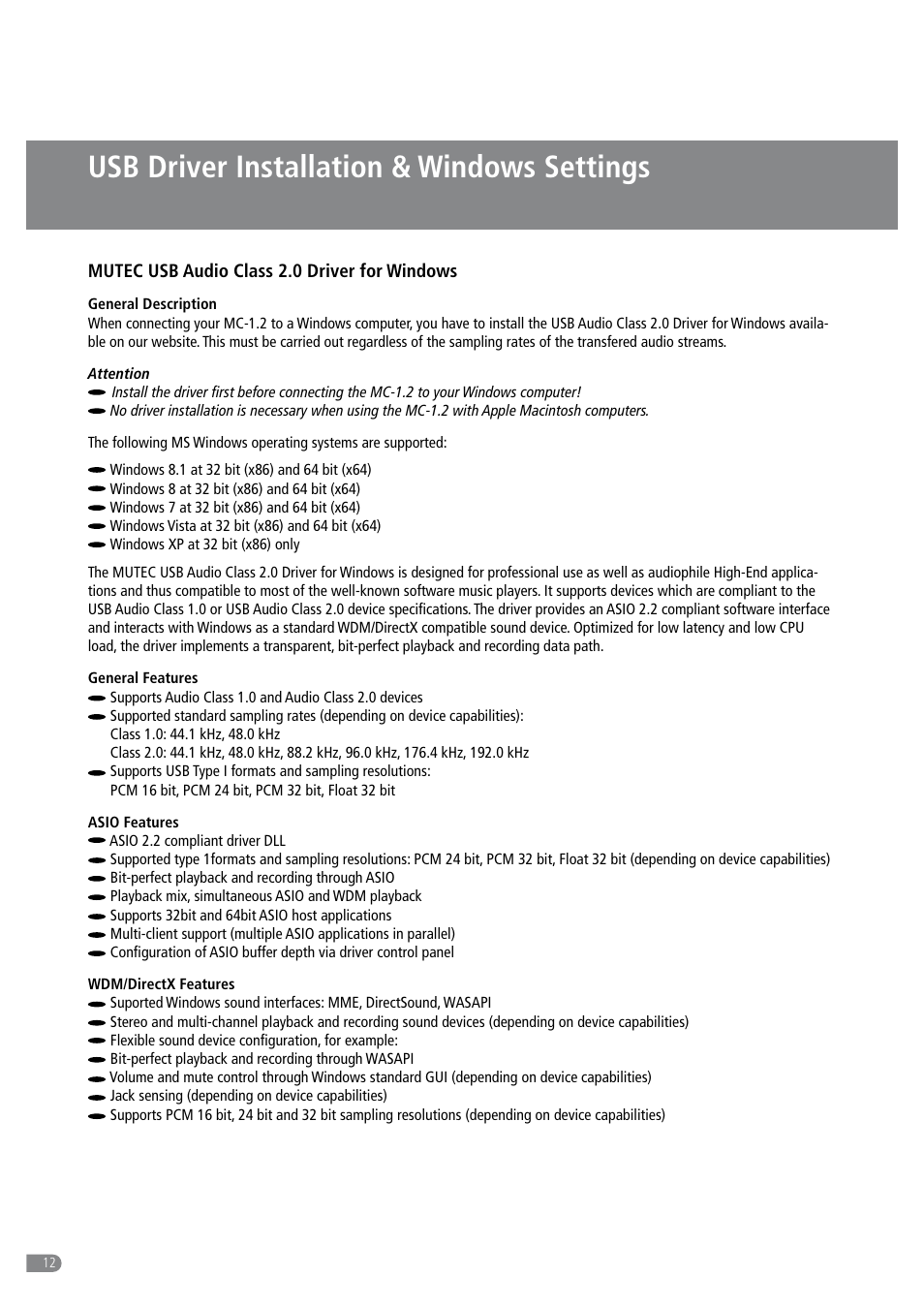 Usb driver installation & windows settings   MUTEC MC-1 2 User
