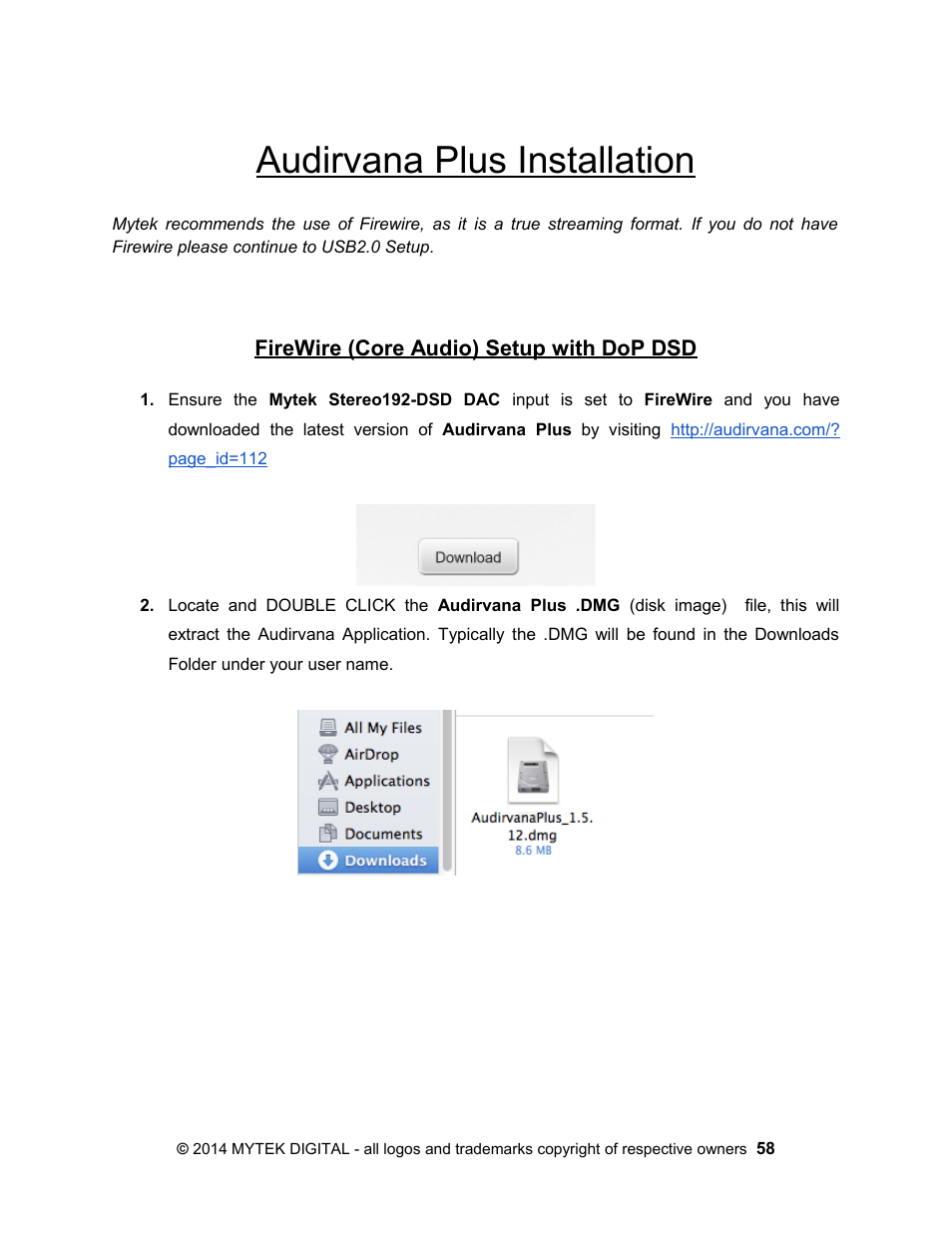 Audirvana plus installation, Firewire (core audio) setup with dop