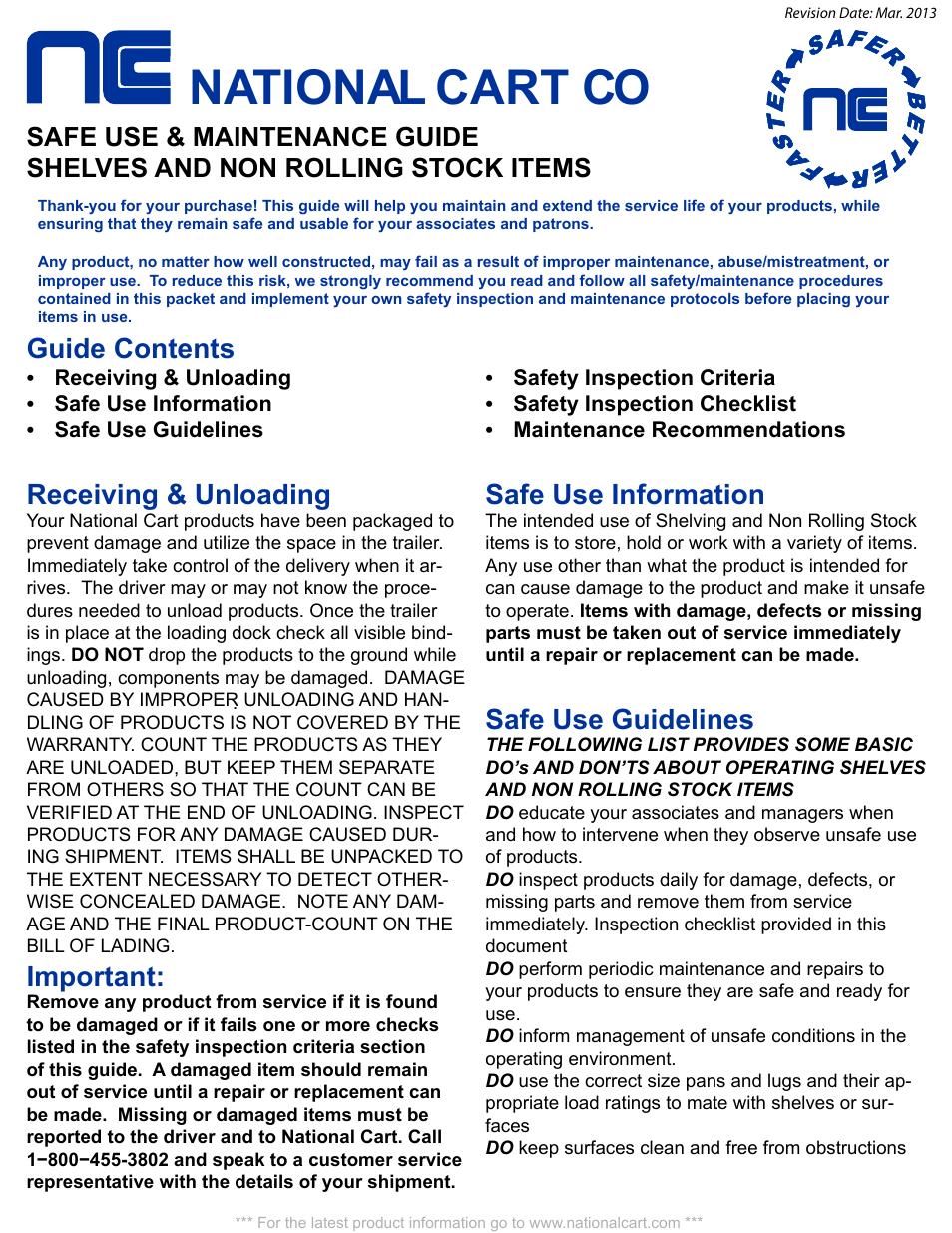 shelves safety national cart co guide contents national cart rh manualsdir com practical boat owner maintenance guide Solar Panel Maintenance Guide