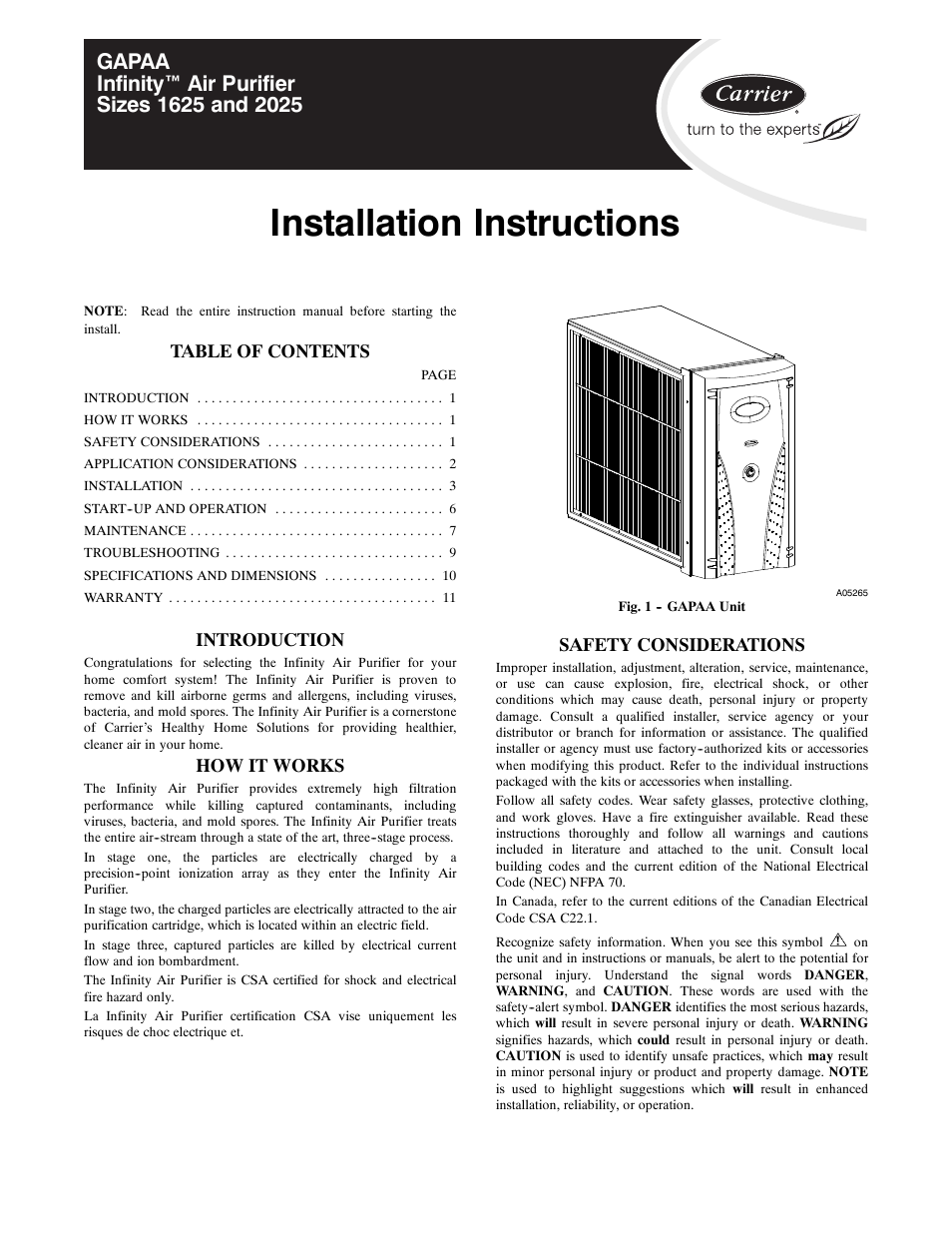 carrier infinity 1625 user manual 12 pages rh manualsdir com Carrier Comfort Pro Electric Carrier Comfort Pro APU Dealers