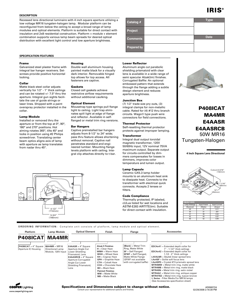 Cooper Lighting Iris 50w Mr16 User Manual 2 Pages Also
